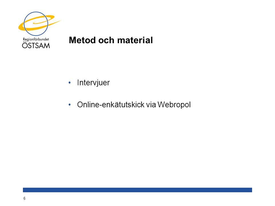 Metod och material Intervjuer Online-enkätutskick via Webropol