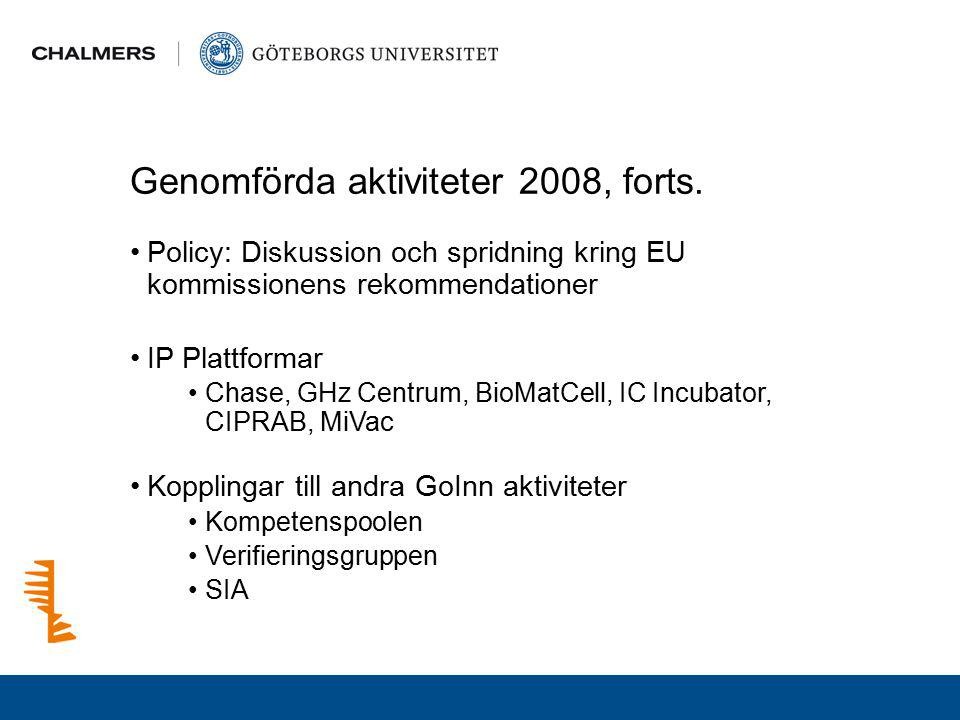 Genomförda aktiviteter 2008, forts.