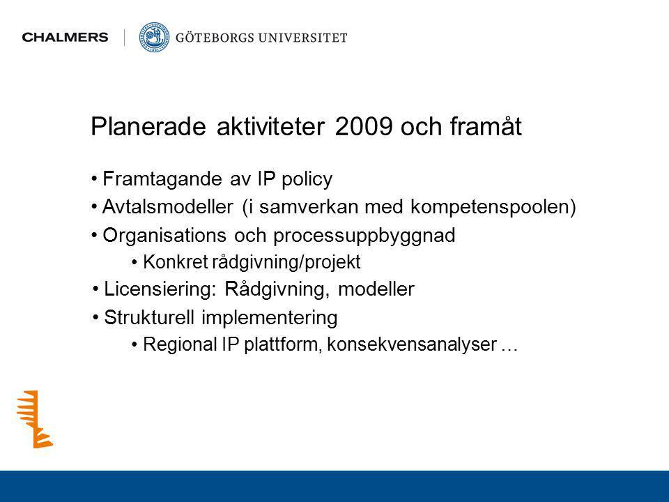 Planerade aktiviteter 2009 och framåt