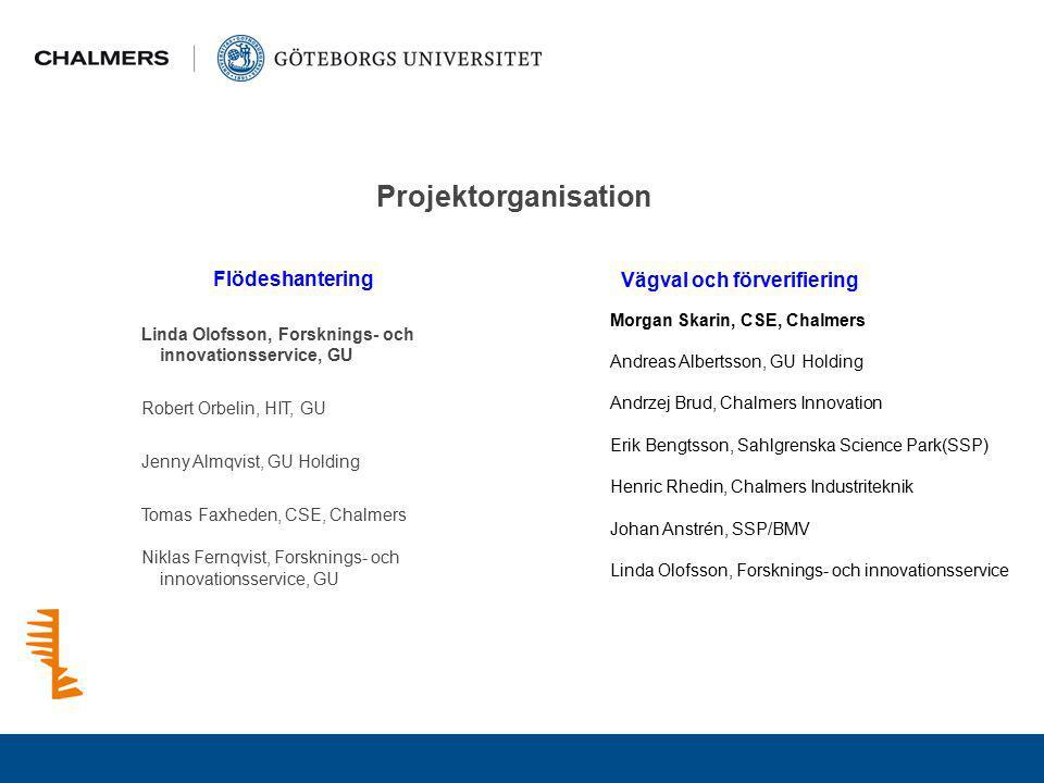 Projektorganisation Flödeshantering Vägval och förverifiering