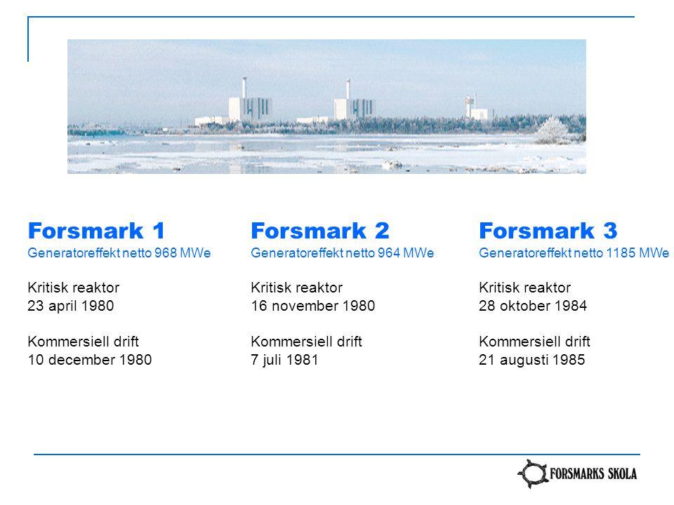 Forsmark 1 Forsmark 2 Forsmark 3 Kritisk reaktor 23 april 1980