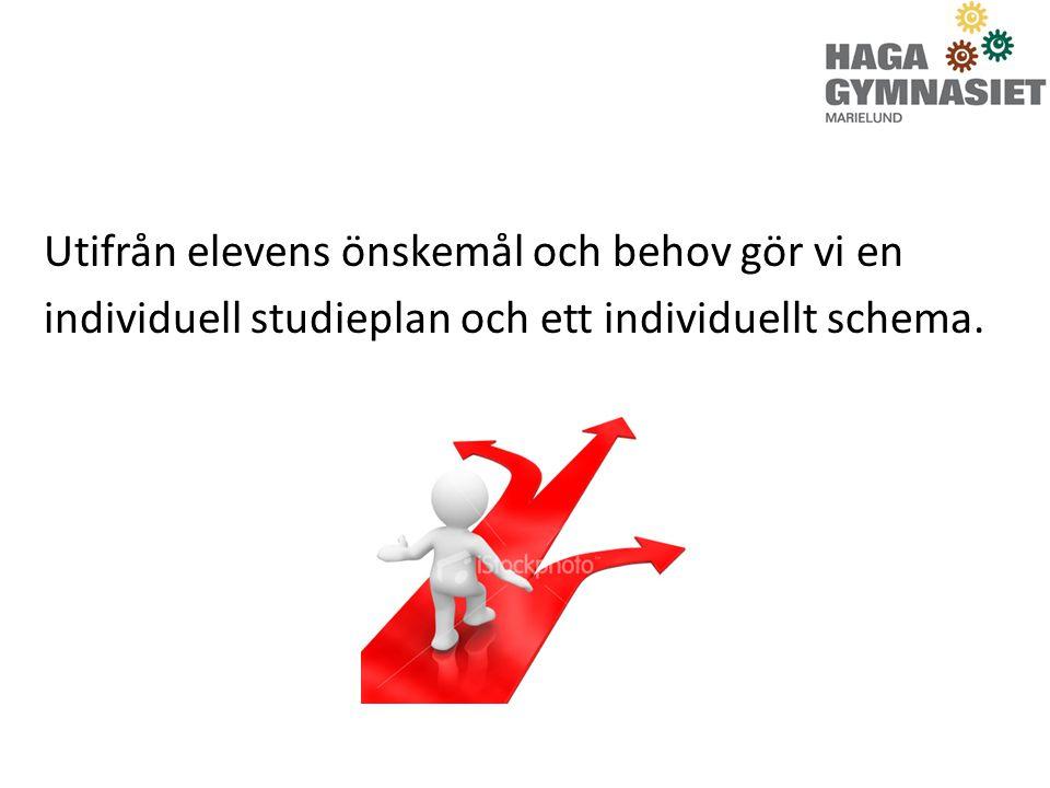 Utifrån elevens önskemål och behov gör vi en individuell studieplan och ett individuellt schema.