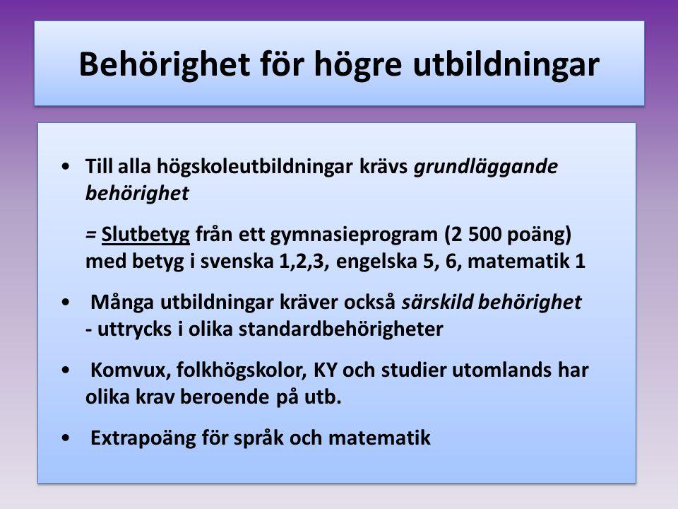 Behörighet för högre utbildningar