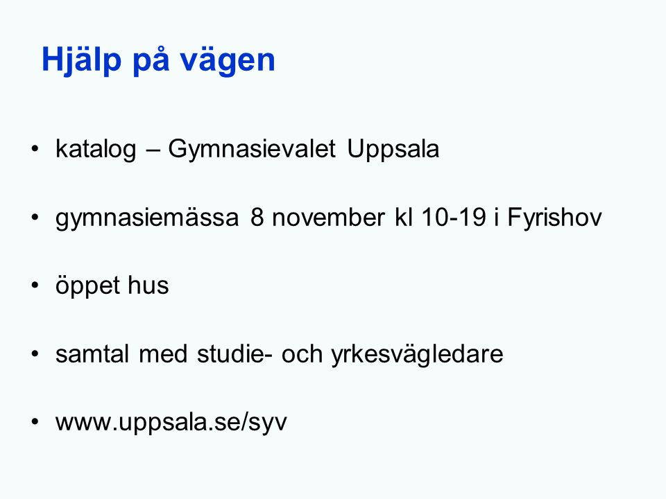 Hjälp på vägen katalog – Gymnasievalet Uppsala