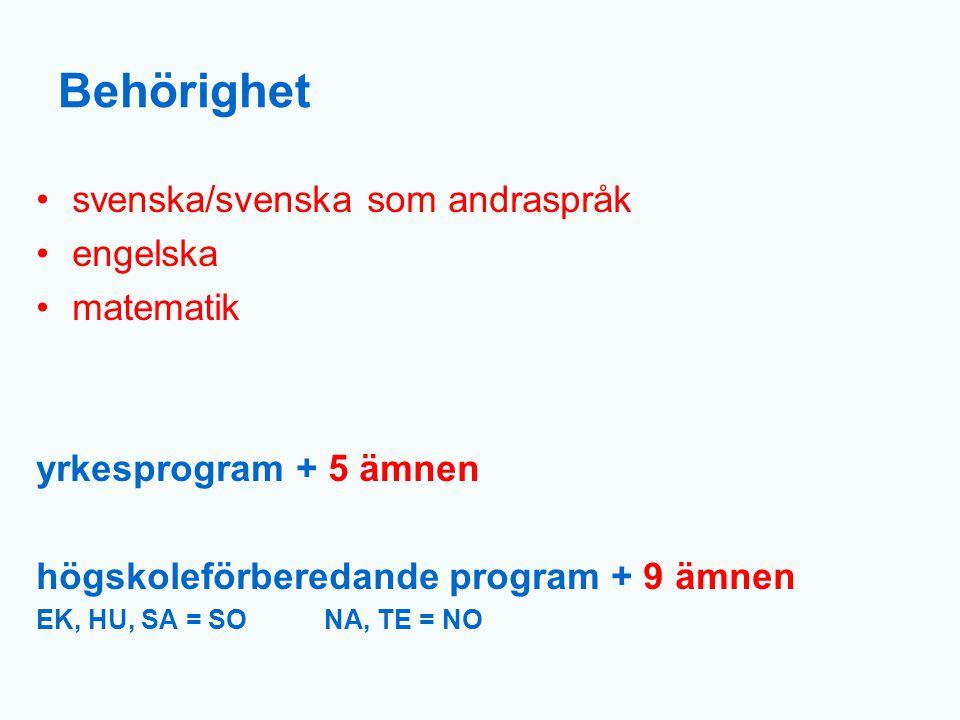 Behörighet svenska/svenska som andraspråk engelska matematik