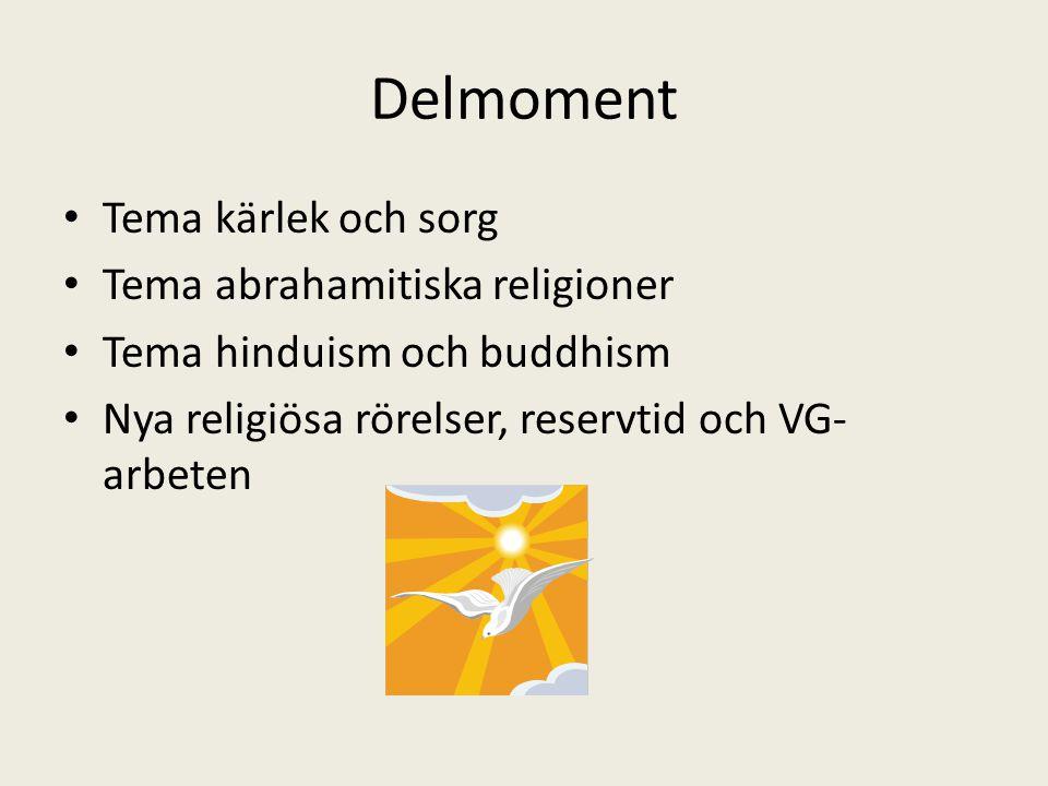 Delmoment Tema kärlek och sorg Tema abrahamitiska religioner