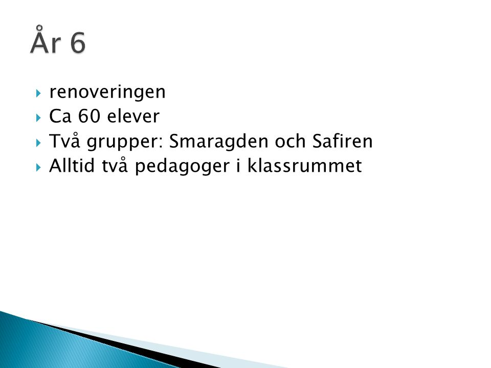 År 6 renoveringen Ca 60 elever Två grupper: Smaragden och Safiren