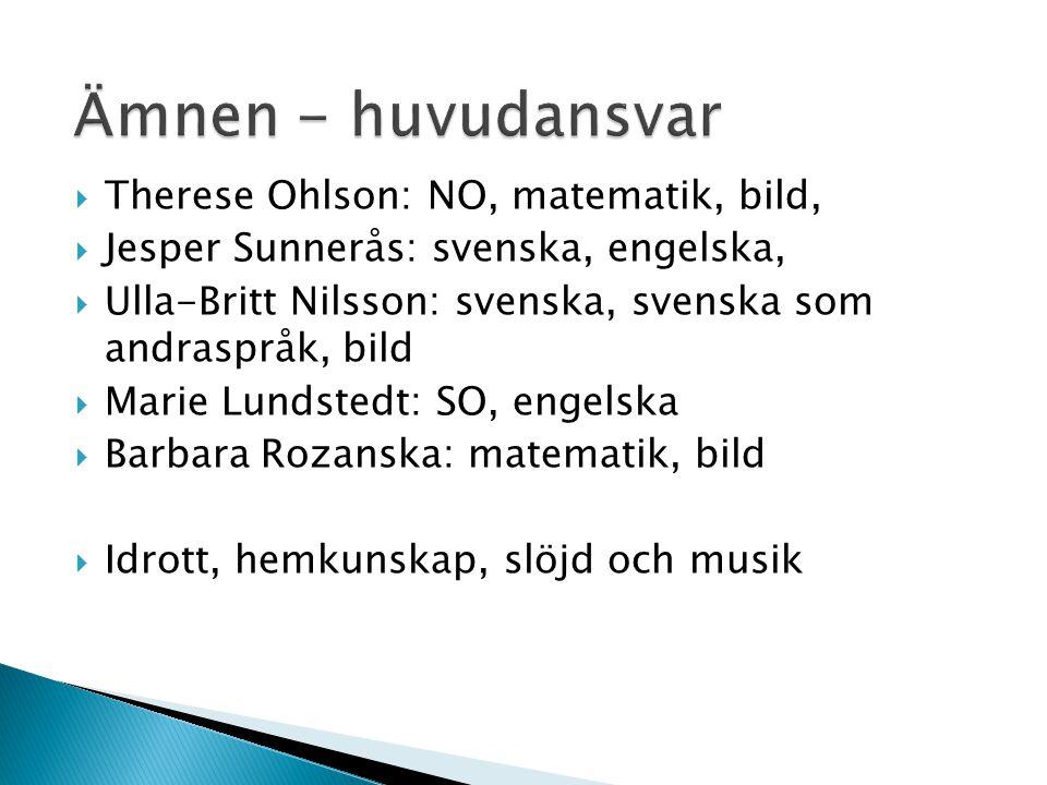 Ämnen - huvudansvar Therese Ohlson: NO, matematik, bild,