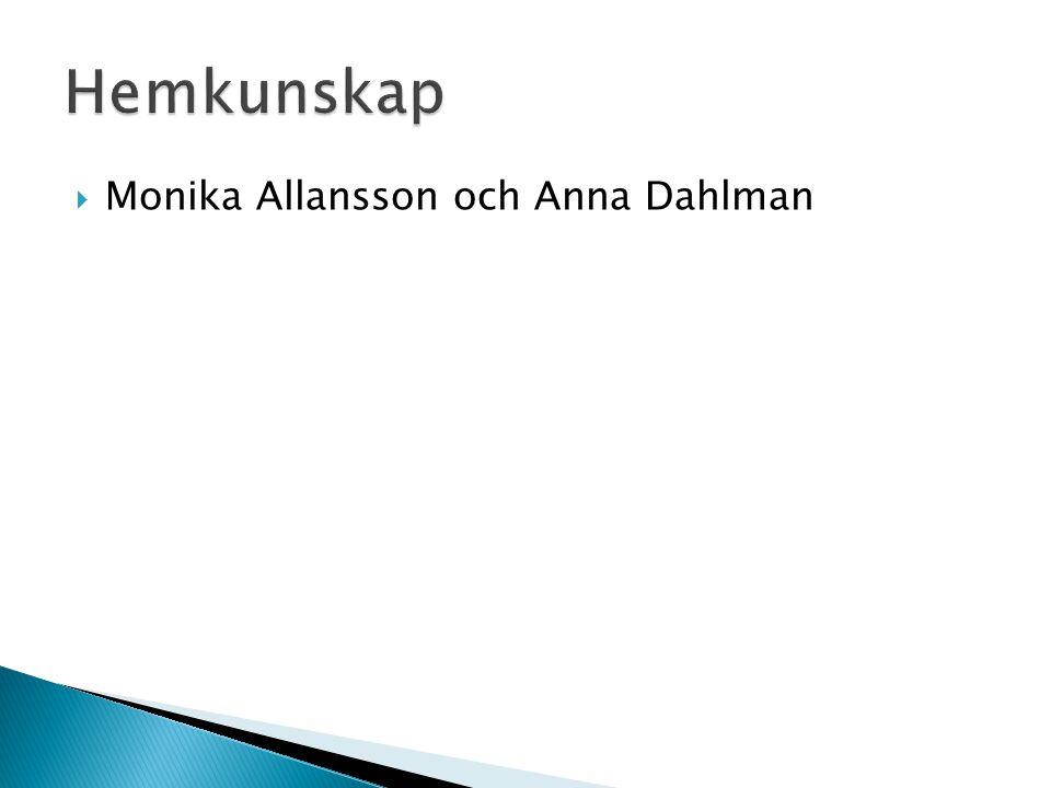 Hemkunskap Monika Allansson och Anna Dahlman