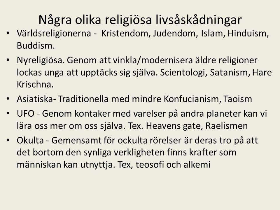 Några olika religiösa livsåskådningar