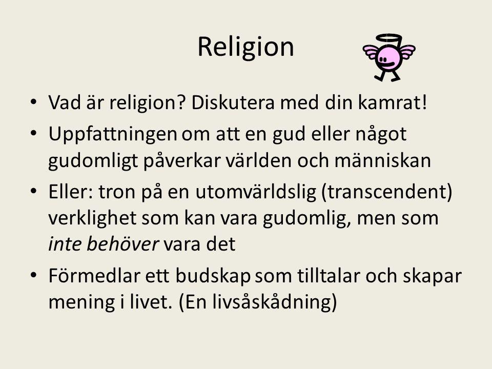 Religion Vad är religion Diskutera med din kamrat!