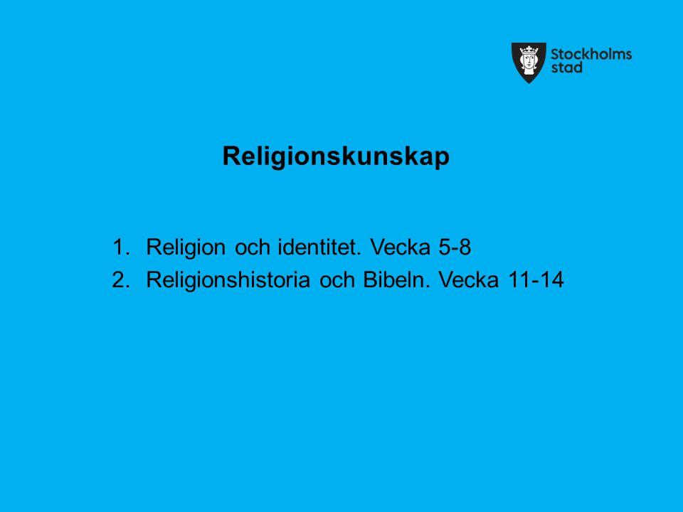 Religionskunskap Religion och identitet. Vecka 5-8
