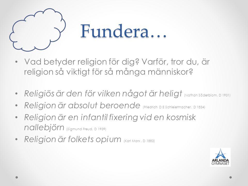 Fundera… Vad betyder religion för dig Varför, tror du, är religion så viktigt för så många människor