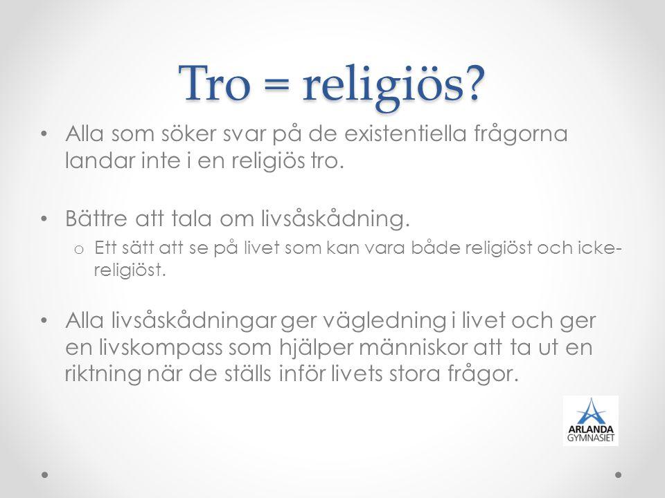 Tro = religiös Alla som söker svar på de existentiella frågorna landar inte i en religiös tro. Bättre att tala om livsåskådning.