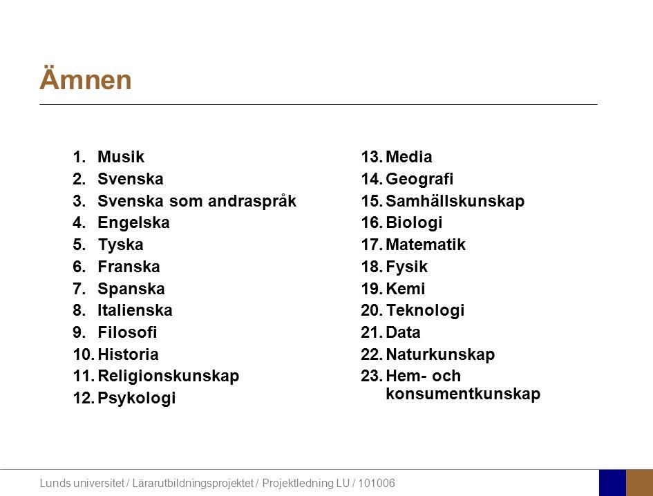 Ämnen Musik Svenska Svenska som andraspråk Engelska Tyska Franska