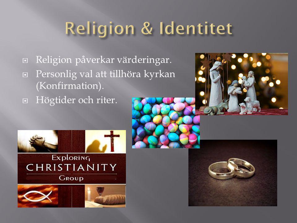 Religion & Identitet Religion påverkar värderingar.