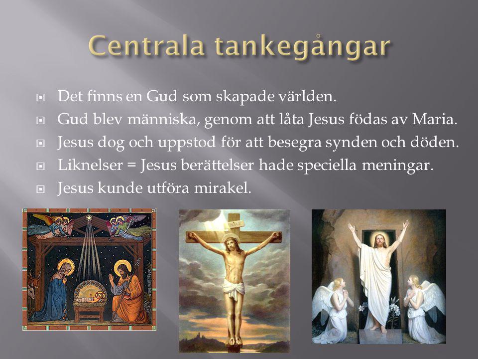 Centrala tankegångar Det finns en Gud som skapade världen.