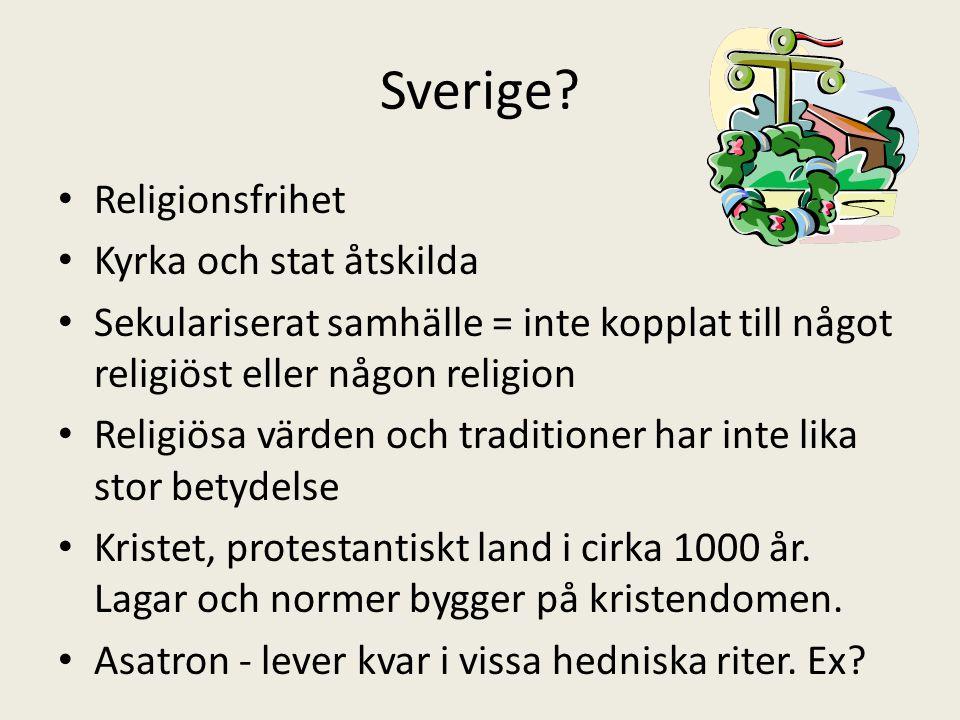 Sverige Religionsfrihet Kyrka och stat åtskilda