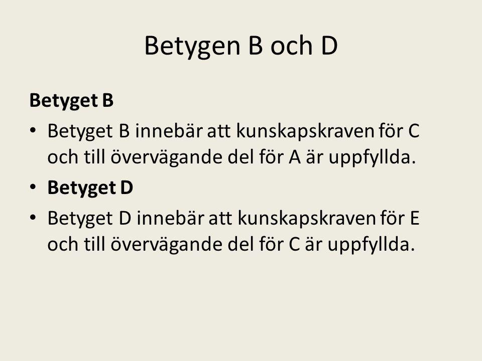 Betygen B och D Betyget B
