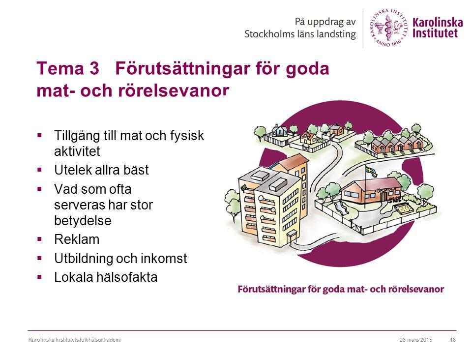Tema 3 Förutsättningar för goda mat- och rörelsevanor