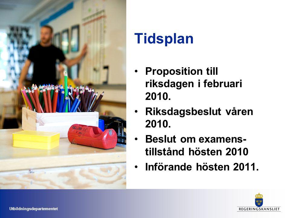 Tidsplan Proposition till riksdagen i februari 2010.