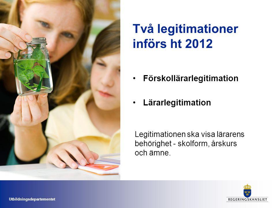 Två legitimationer införs ht 2012