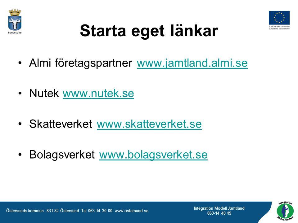 Starta eget länkar Almi företagspartner www.jamtland.almi.se