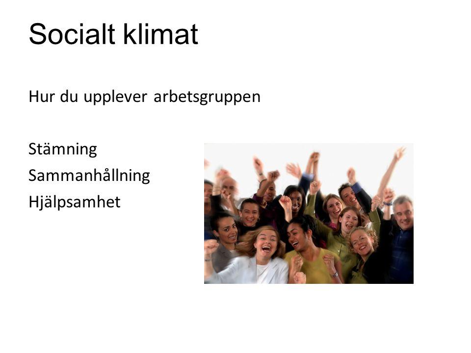 Socialt klimat Hur du upplever arbetsgruppen Stämning Sammanhållning
