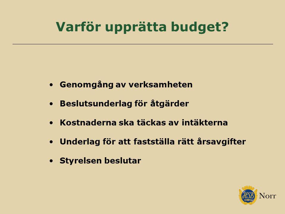 Varför upprätta budget