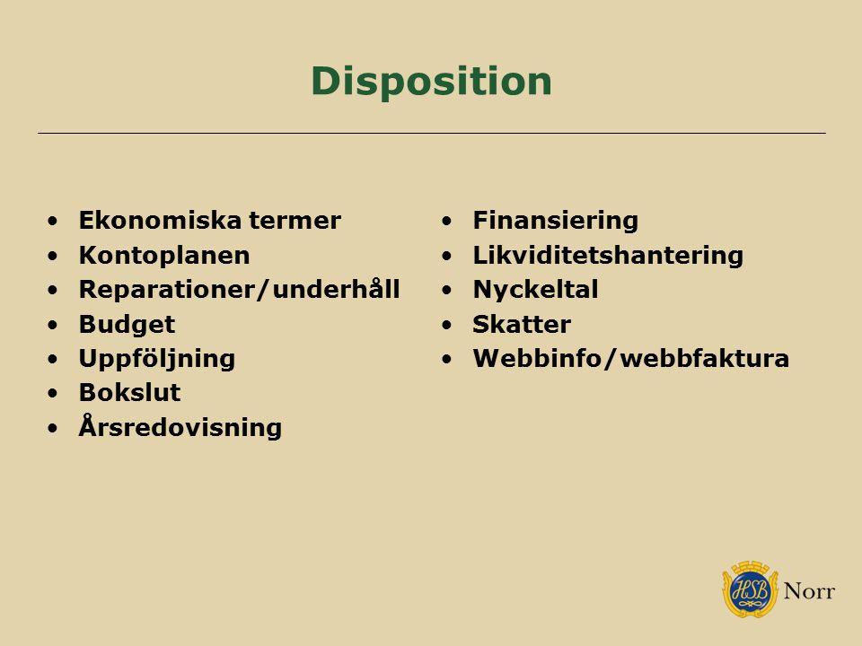 Disposition Ekonomiska termer Kontoplanen Reparationer/underhåll