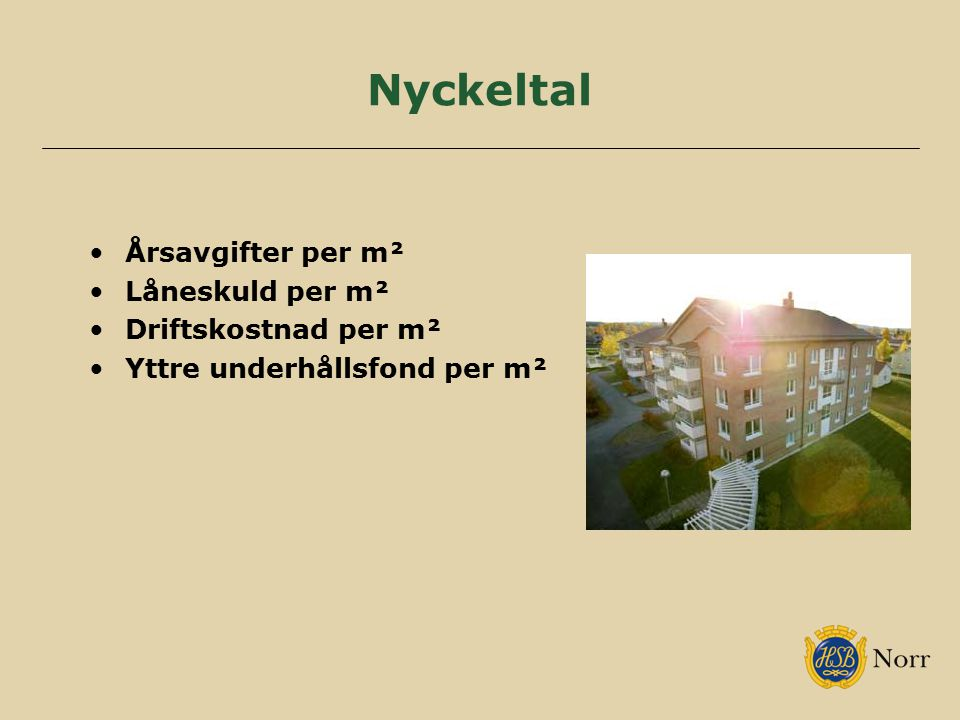 Nyckeltal Årsavgifter per m² Låneskuld per m² Driftskostnad per m²