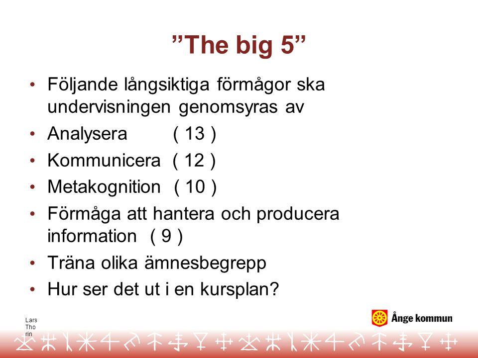 The big 5 Följande långsiktiga förmågor ska undervisningen genomsyras av. Analysera ( 13 ) Kommunicera ( 12 )