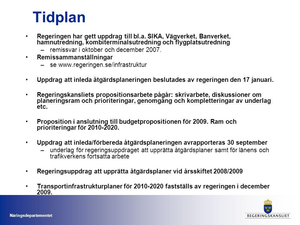 Tidplan Regeringen har gett uppdrag till bl.a. SIKA, Vägverket, Banverket, hamnutredning, kombiterminalsutredning och flygplatsutredning.