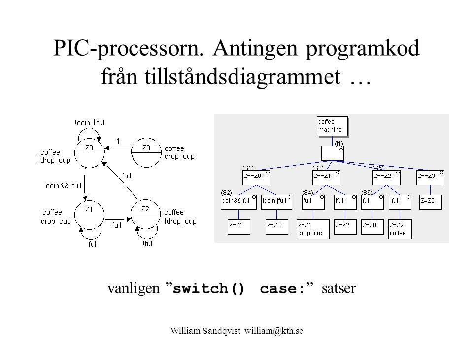 PIC-processorn. Antingen programkod från tillståndsdiagrammet …