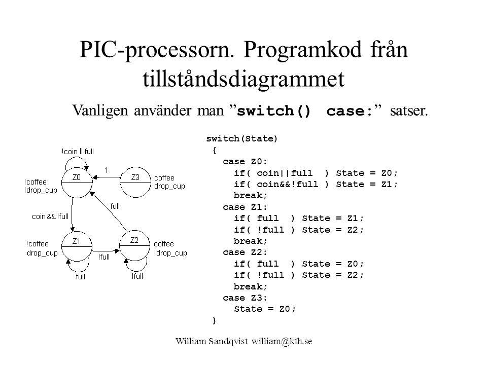 PIC-processorn. Programkod från tillståndsdiagrammet