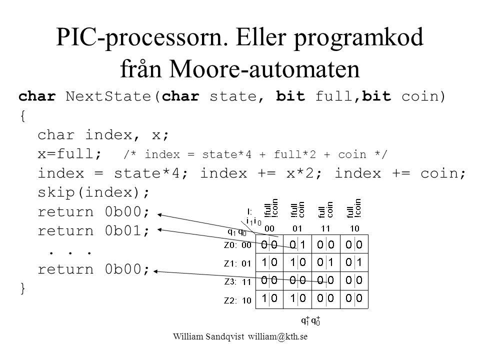 PIC-processorn. Eller programkod från Moore-automaten