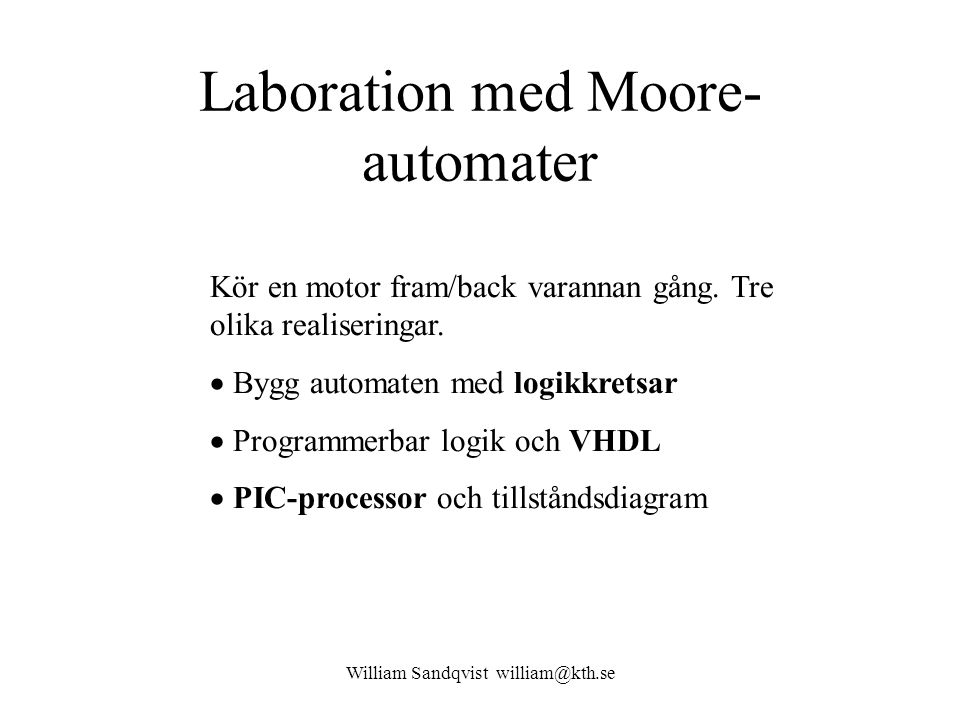 Laboration med Moore-automater