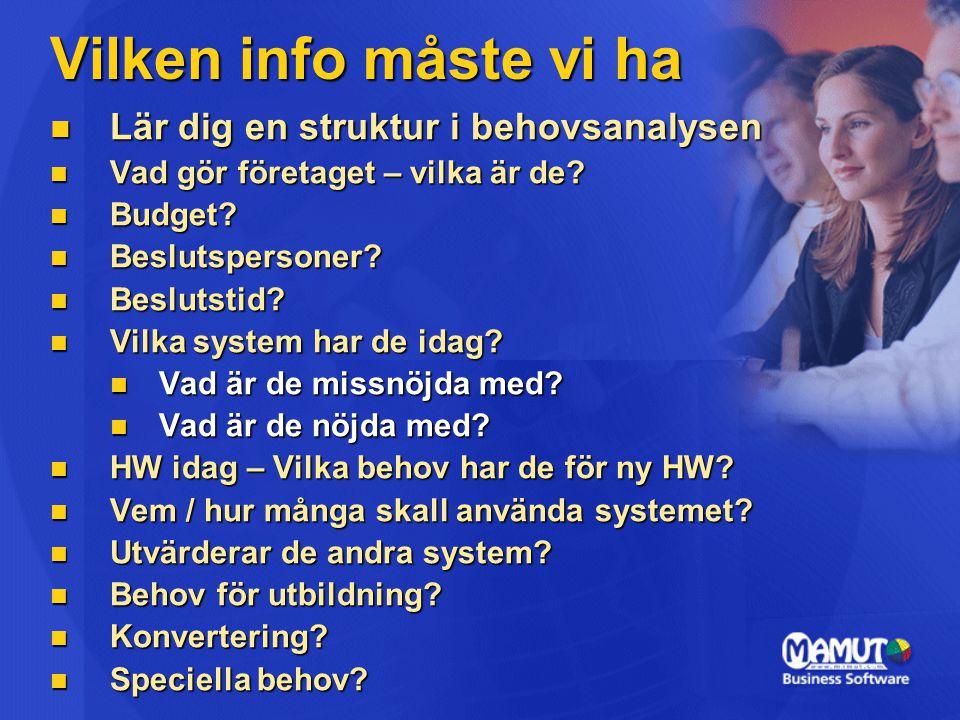 Vilken info måste vi ha Lär dig en struktur i behovsanalysen