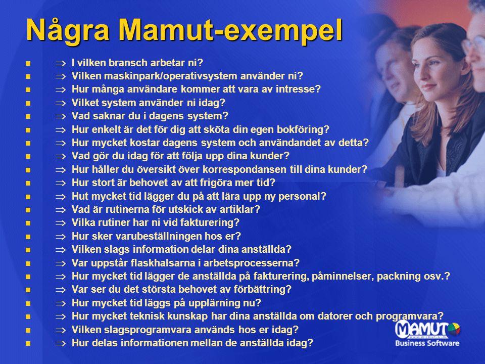 Några Mamut-exempel Þ I vilken bransch arbetar ni