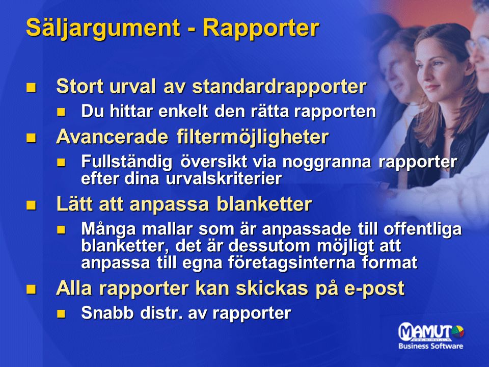 Säljargument - Rapporter