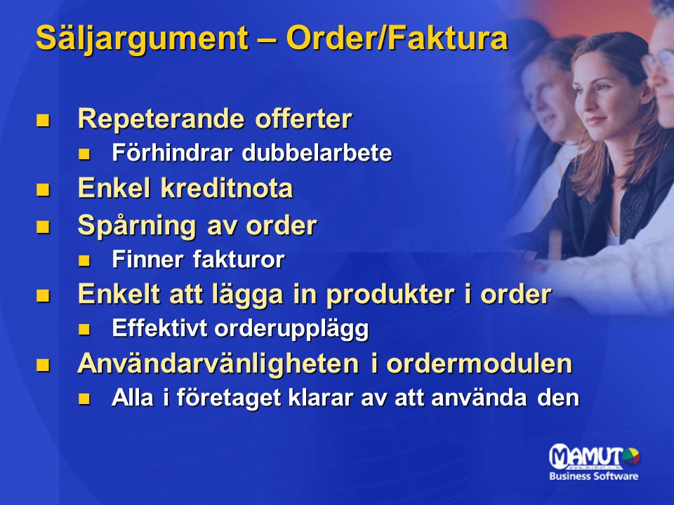 Säljargument – Order/Faktura