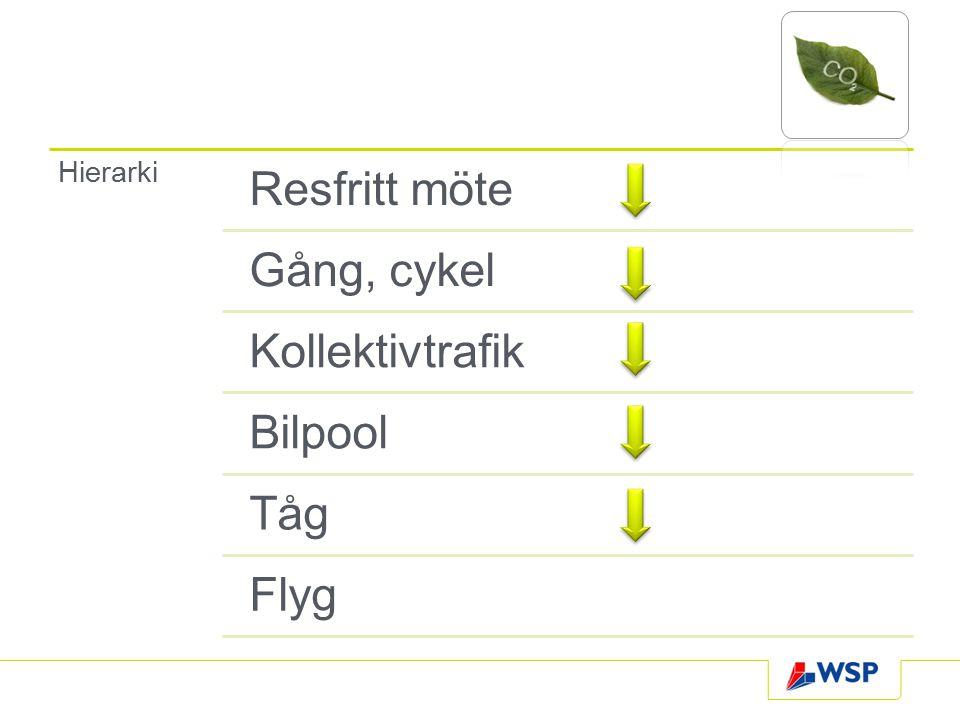 Hierarki Resfritt möte Gång, cykel Kollektivtrafik Bilpool Tåg Flyg