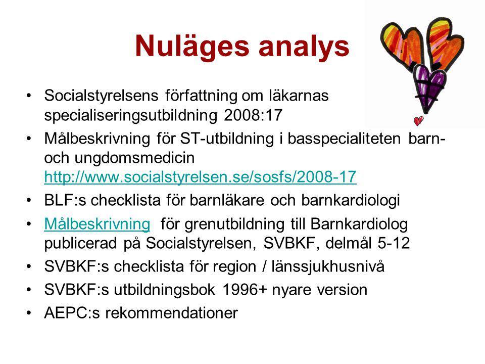 Nuläges analys Socialstyrelsens författning om läkarnas specialiseringsutbildning 2008:17.