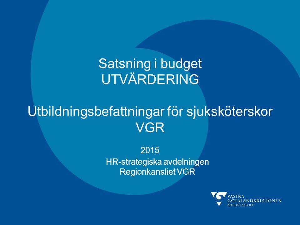 HR-strategiska avdelningen Regionkansliet VGR