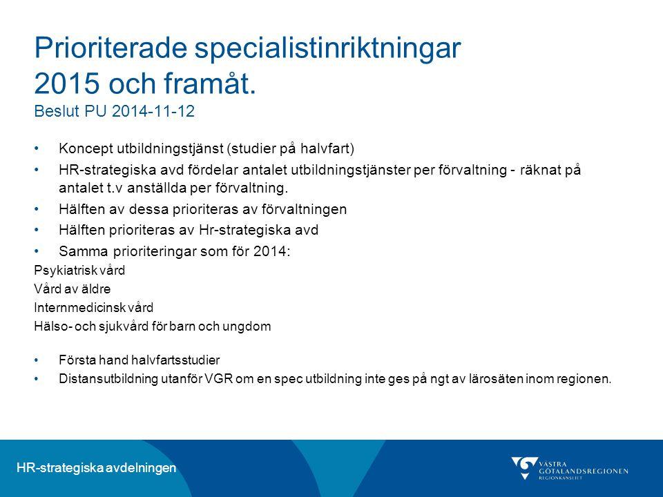 Prioriterade specialistinriktningar 2015. och framåt
