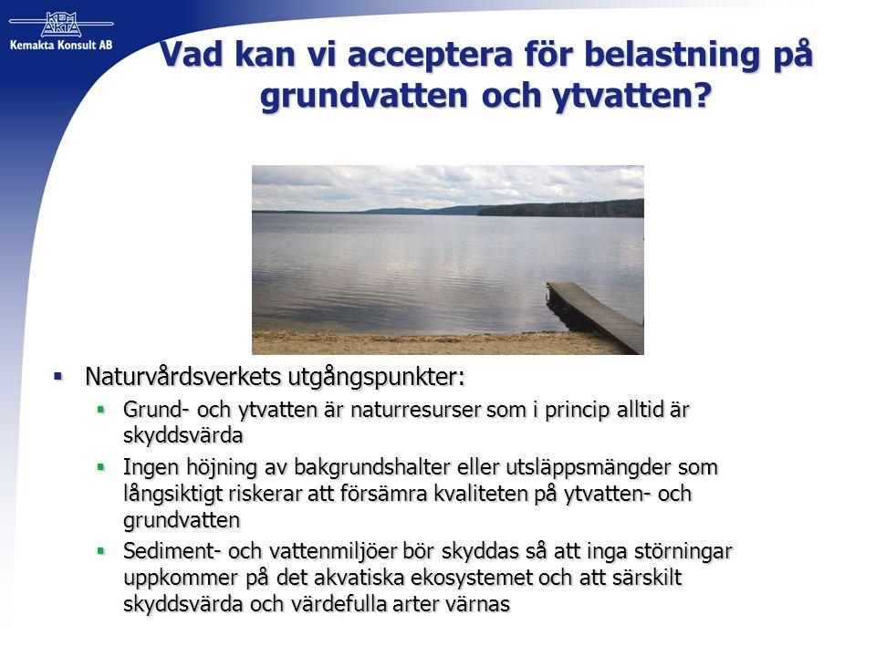 Vad kan vi acceptera för belastning på grundvatten och ytvatten