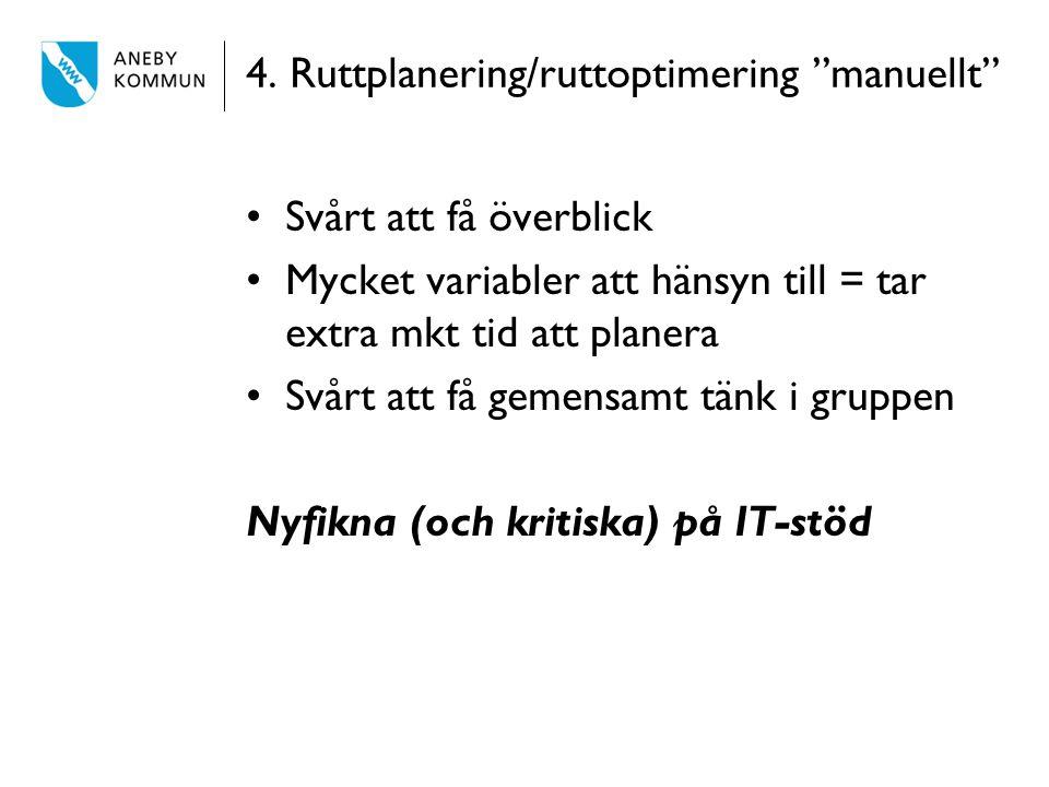 4. Ruttplanering/ruttoptimering manuellt