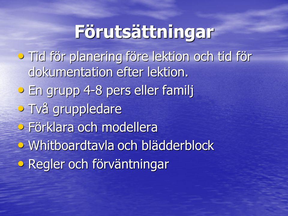 Förutsättningar Tid för planering före lektion och tid för dokumentation efter lektion. En grupp 4-8 pers eller familj.