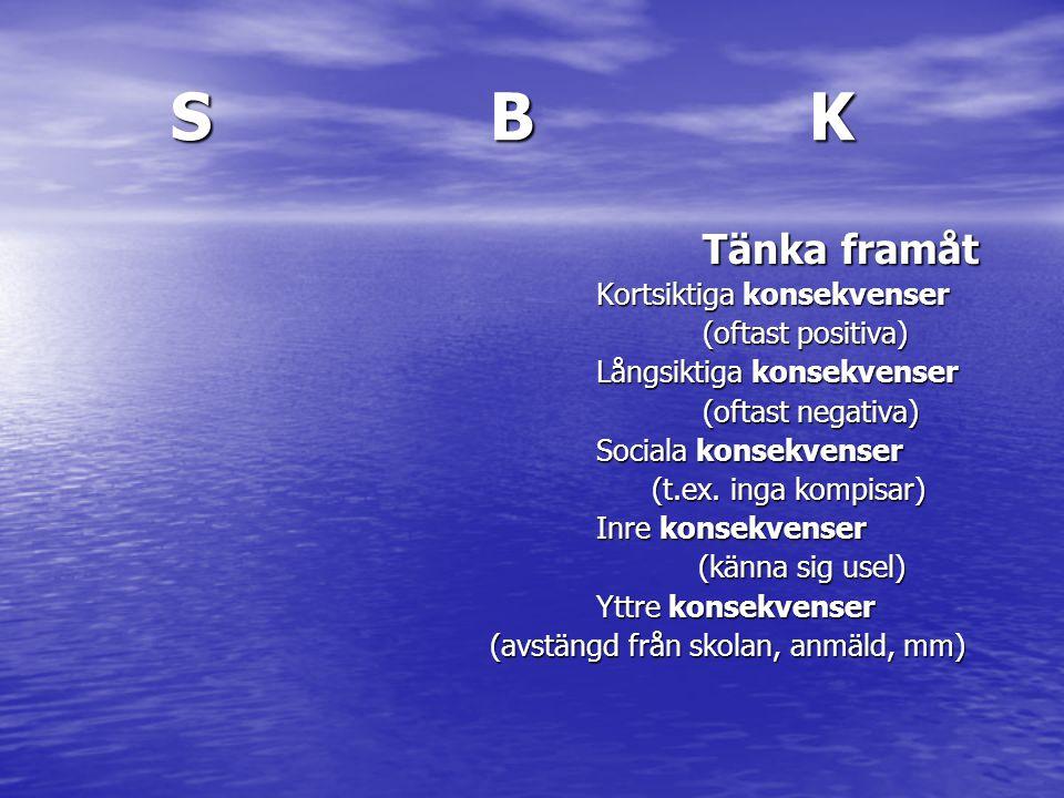 S B K Tänka framåt Kortsiktiga konsekvenser (oftast positiva)