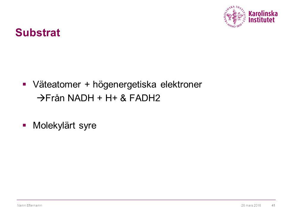 Substrat Väteatomer + högenergetiska elektroner Från NADH + H+ & FADH2